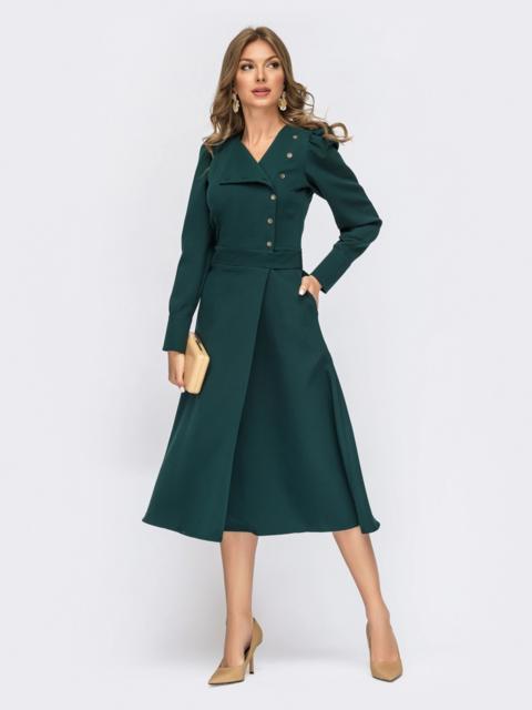 Зеленое платье-миди на запах из костюмного крепа 55124, фото 1