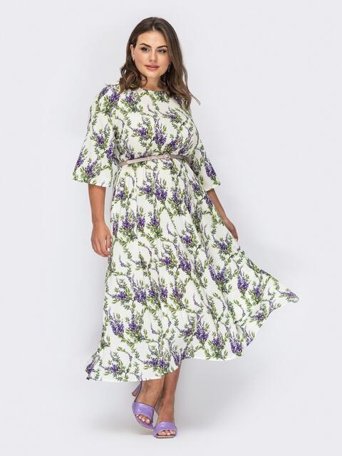 """Белое платье большого размера с принтом """"лаванда"""" 53936, фото 1"""