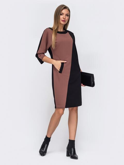 Бежевое платье с цельнокроеным рукавом 50804, фото 1