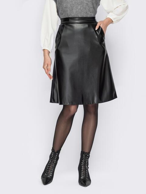 Черная юбка-трапеция из экокожи 53324, фото 1