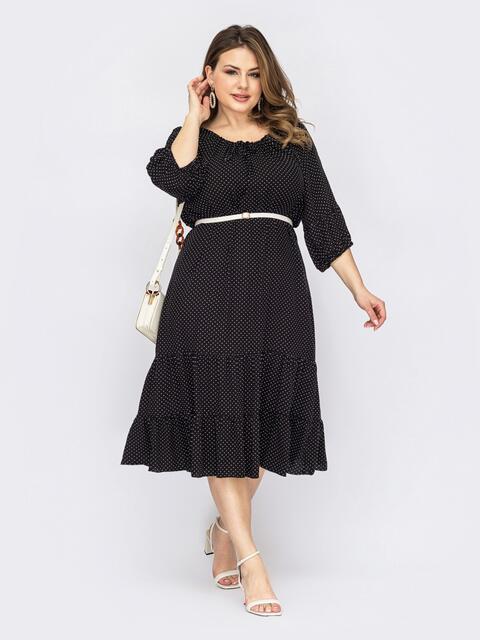 Черное платье батал с горловиной на кулиске 53818, фото 1