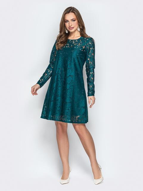 Гипюровое платье-трапеция с жемчужинами на кокетке бутылка 20604, фото 1