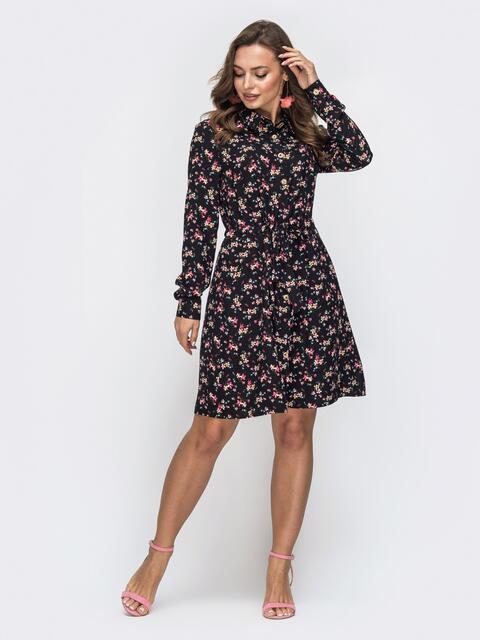 Платье с принтом и кулиской по талии чёрное 45441, фото 1
