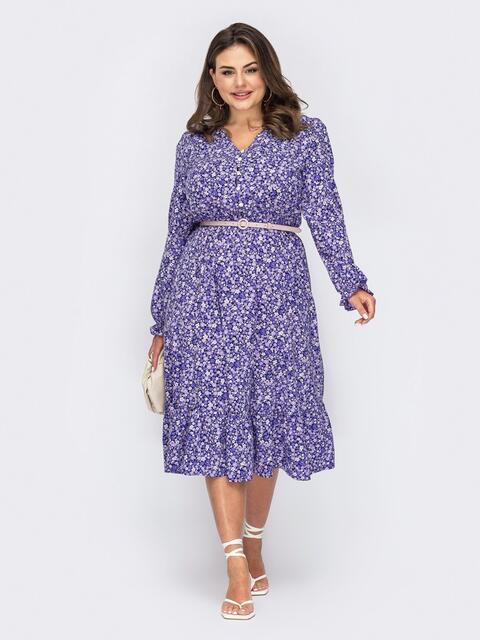 Сиреневое платье большого размера с цветочным принтом 53938, фото 1