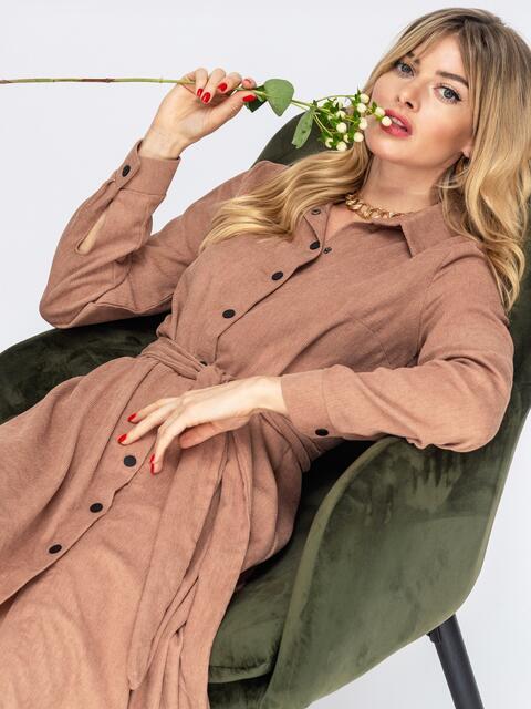 Вельветовое платье-рубашка бежевое 44859, фото 1