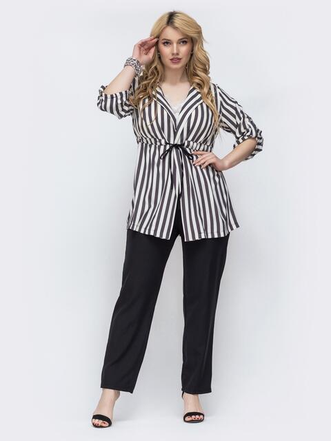 Черный комплект батал с полосатым пиджаком и брюками 46265, фото 1