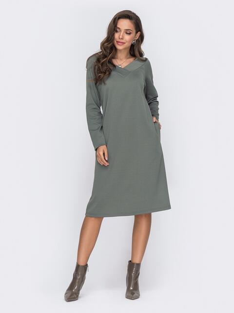 Прямое платье из джерси с треугольным вырезом хаки 50762, фото 1
