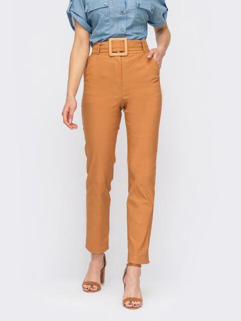 Терракотовые зауженные брюки с поясом из основной ткани 53981, фото 1