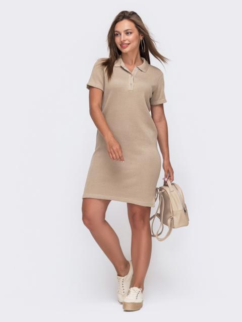 Вязаное платье-футболка с отложным воротником бежевое 49614, фото 1