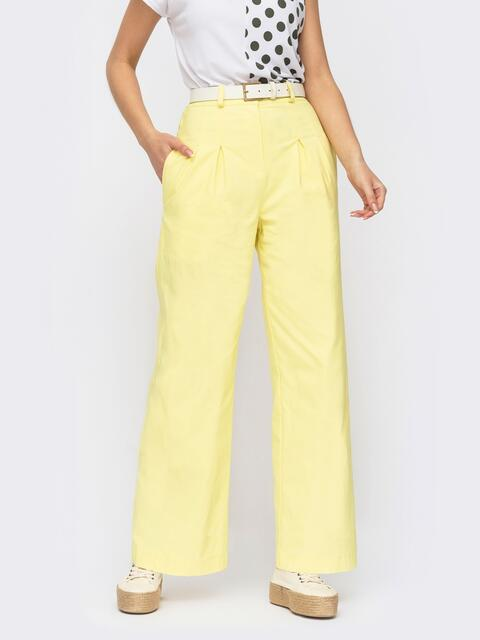 Желтые брюки прямого кроя с завышенной талией 53980, фото 1