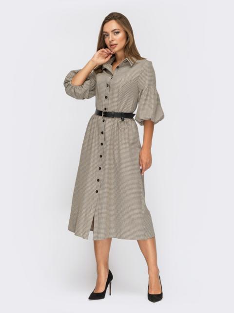 Бежевое платье-рубашка в клетку с рукавами-буфами 55113, фото 1