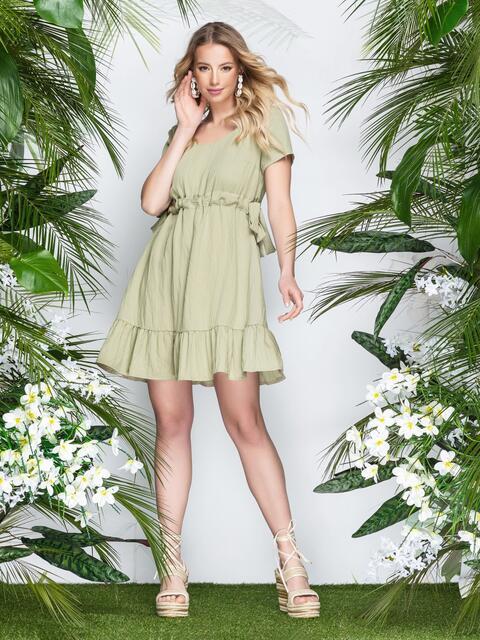 Льняное платье на кулиске по талии с оборкой хаки 22000, фото 1
