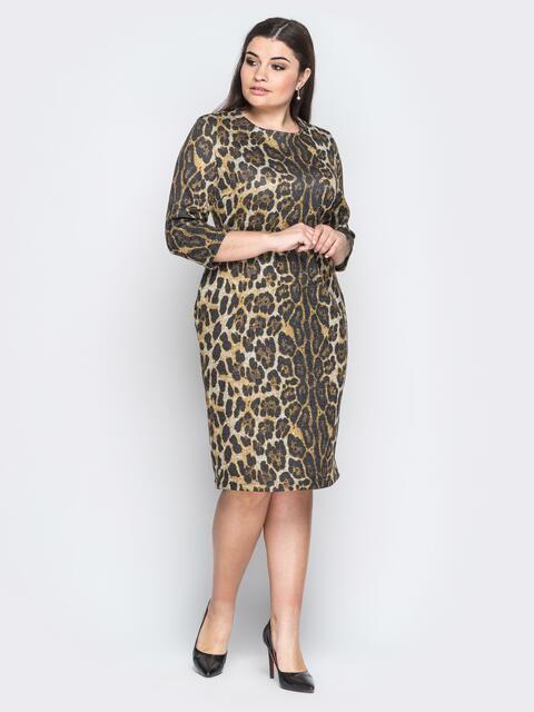 Ангоровое платье с леопардовым принтом коричневое 18369, фото 1