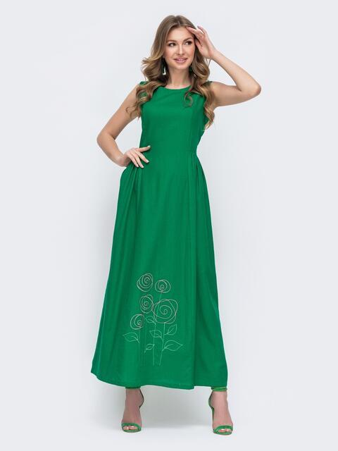 Льняное платье приталенного кроя с вышивской по низу зеленое 46739, фото 1