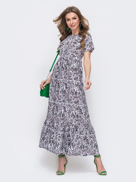 Приталенное платье-макси с цветочным принтом зеленое 46748, фото 1