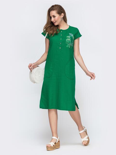 Свободное платье из льна с вышивкой зеленое 46742, фото 1