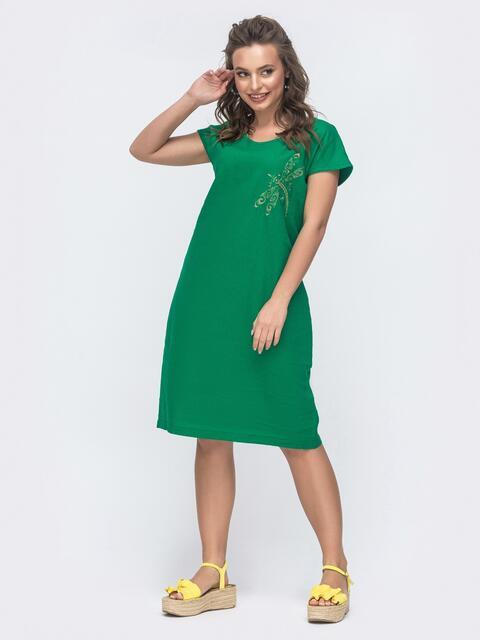 Свободное платье-миди из льна с вышивкой зеленое 46750, фото 1