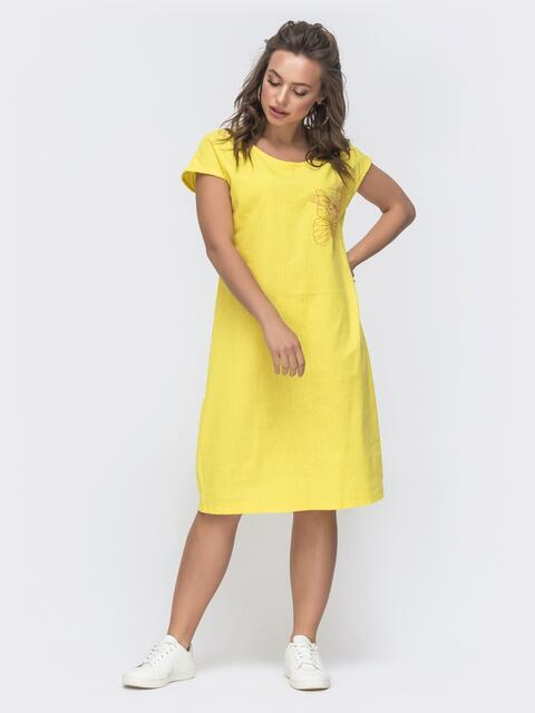 Свободное платье-миди из льна с вышивкой желтое 46751, фото 1
