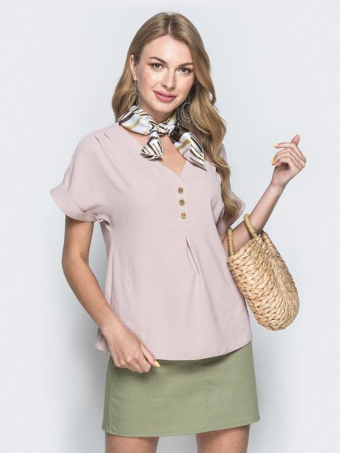 Бежевая блузка из крепа с цельнокроеным рукавом 38413, фото 1