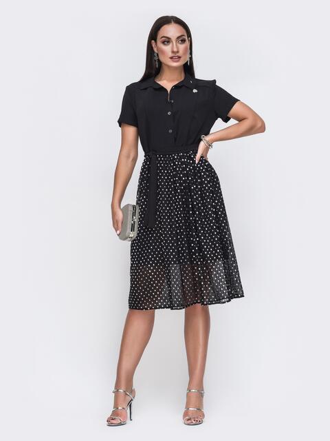 Платье батал с расклешенной юбкой из шифона чёрное 49683, фото 1