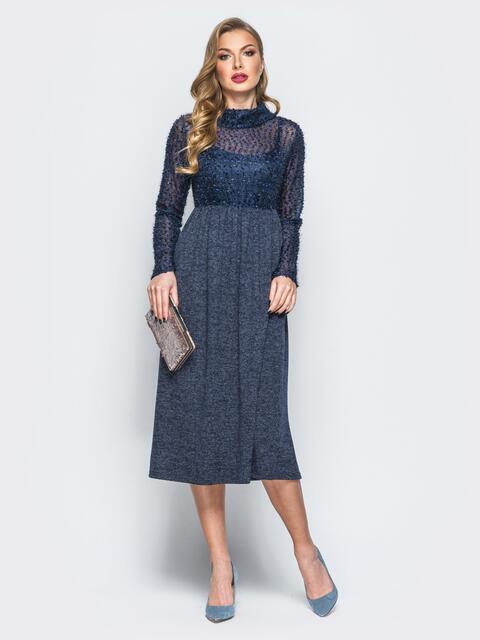 """Платье тёмно-синего цвета с верхом из трикотажа """"травка"""" 18142, фото 1"""