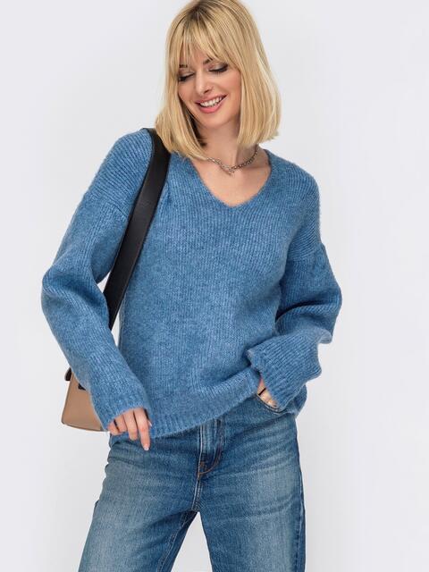 Тёплый свитер с V-образным вырезом горловины голубой 52912, фото 1