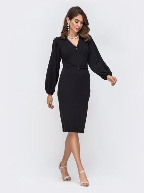 Обтягивающее платье с манжетом на резинке чёрное 42619, фото 1