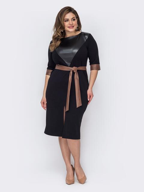 Приталенное платье большого размера с вставкой из экокожи черное 53629, фото 1