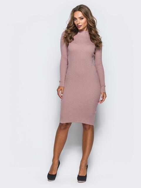 Розовое трикотажное платье в рубчик с длинными рукавами 15917, фото 1