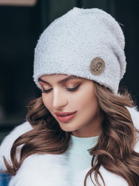 Вязаная шапка-бини белого цвета 40451, фото 1