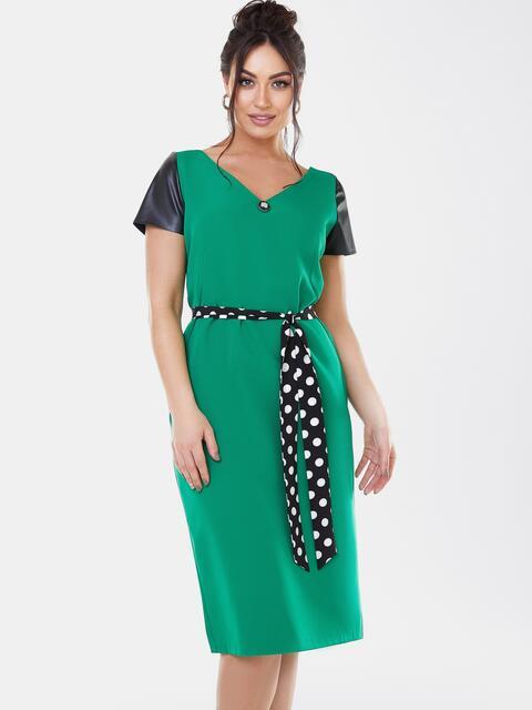 Зеленое платье батал с коротким рукавом из экокожи 53628, фото 1