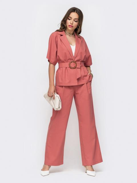 Льняной комплект из жакета и брюк-клеш розовый 49308, фото 1