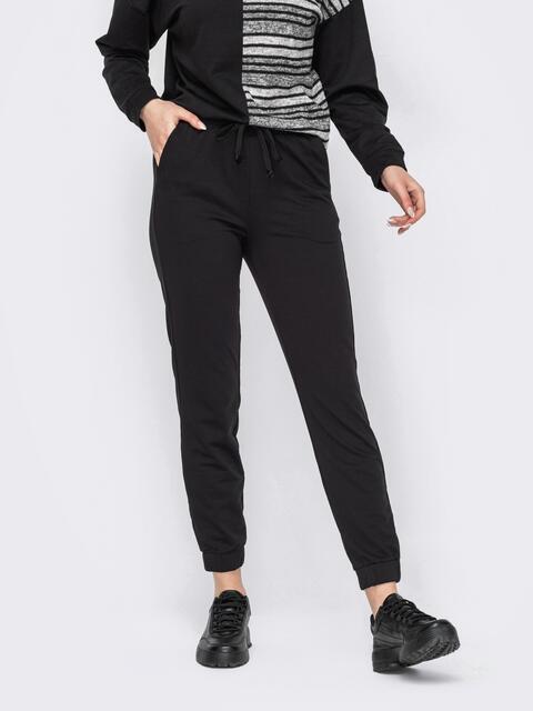 Спортивные штаны со стандартной посадкой черные 52662, фото 1