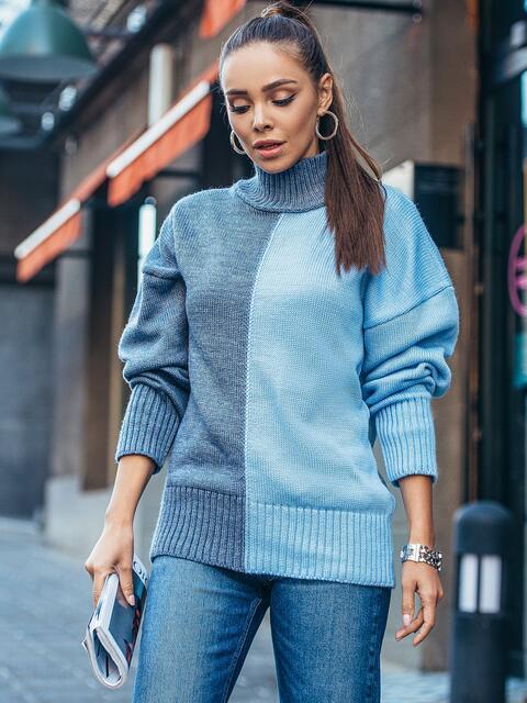 Голубой вязаный свитер с высоким воротником 50710, фото 1