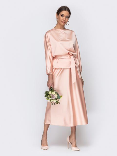Комплект розового цвета из блузки и юбки-трапеция 44742, фото 1