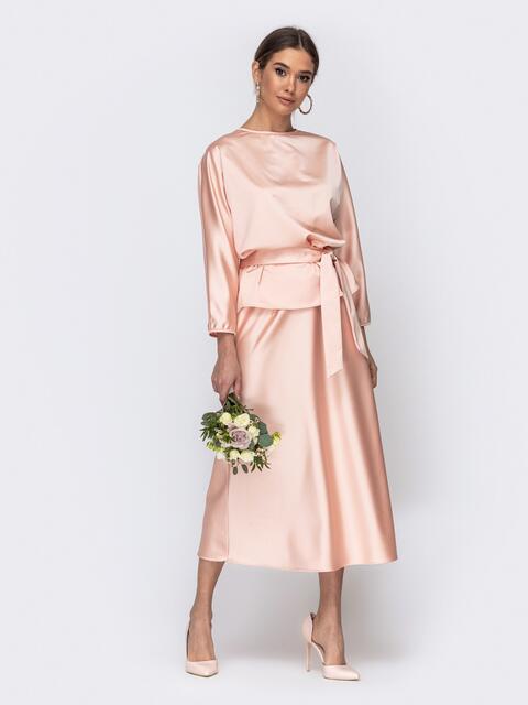 Костюм розового цвета из блузки и юбки-трапеции 44742, фото 1