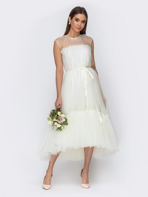 Платье молочного цвета с фатиновым воланом по низу 44752, фото 1