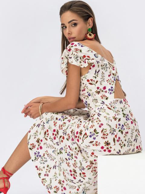 Платье молочного цвета с оригинальным вырезом по спинке 53982, фото 1