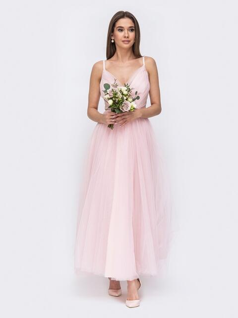 Платье с драпированным лифом и объемной юбкой пудровое 44761, фото 1