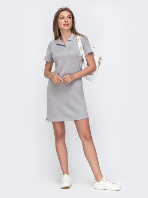 Серое платье-футболка на пуговицах по полочке  49613, фото 1