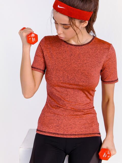 Спортивная футболка из трикотажа коралловая 44648, фото 1