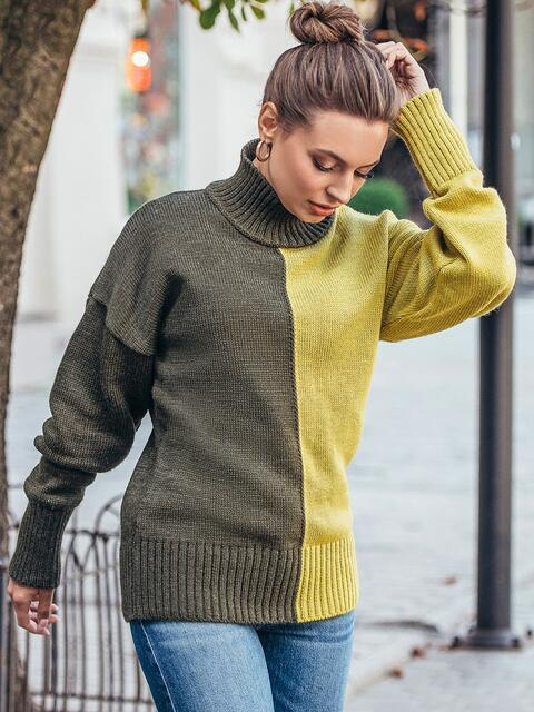 Вязаный свитер цвета хаки с высоким воротником 50714, фото 1