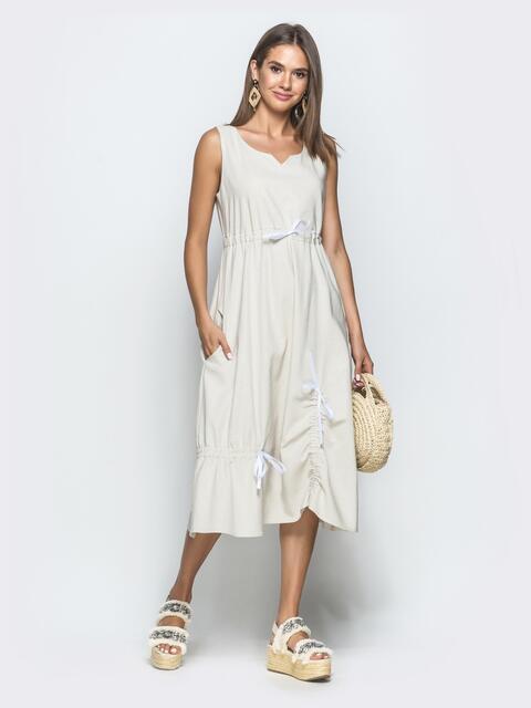 Льняное платье бежевого цвета 39693, фото 1