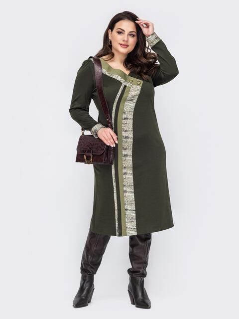 Платье приталенного силуэта батал цвета хаки 52791, фото 1
