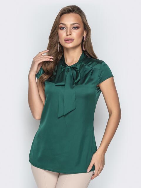 """Зелёная блузка с рукавом """"крылышко"""" и воротником-аскот 20507, фото 1"""