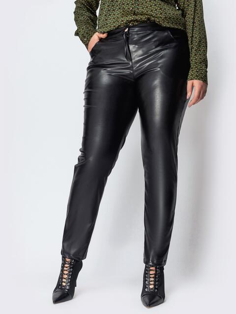 Чёрные брюки большого размера из эко-кожи 44435, фото 1