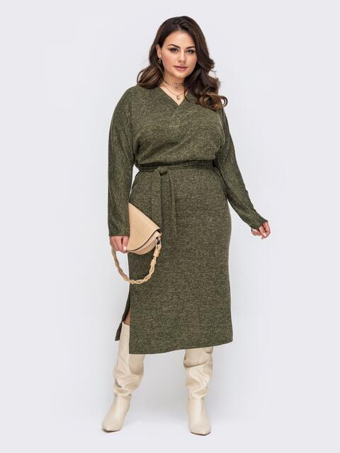 Платье батал цвета хаки с фиксированным запахом 51295, фото 1