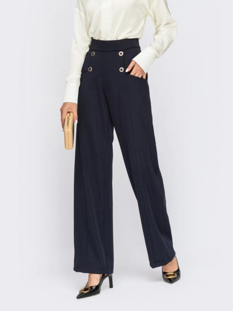 Широкие брюки с высокой посадкой темно-синие 55147, фото 1