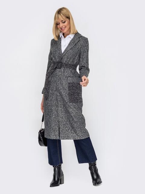 Пальто на запах из букле графитовое 53062, фото 1