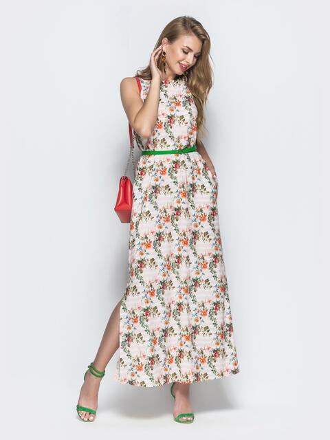 Платье из софта с цветочным принтом бежевое 39209, фото 1